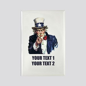 [Your text] Uncle Sam Rectangle Magnet